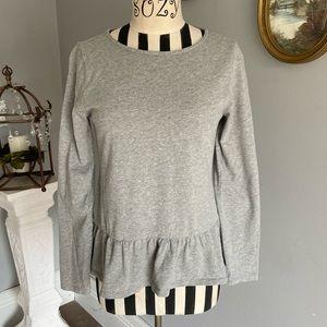 ✨J. Crew✨ gray peplum crewneck blouse